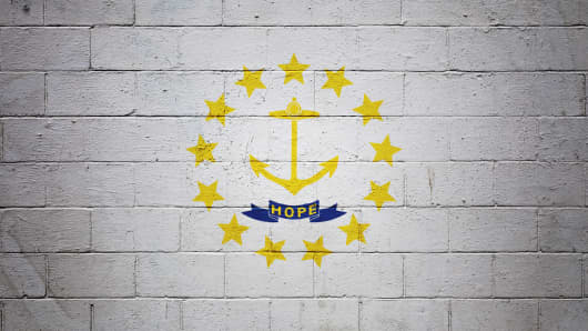 Rhode Island state flag painted on a wall