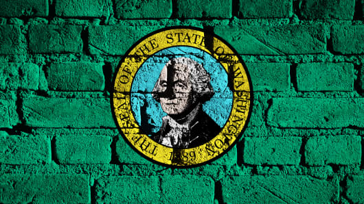 US state flag of Washington