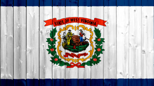 West Virginia flag with wood texture