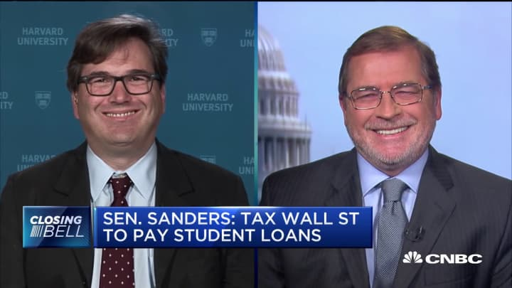 On Sen. Sanders plan to tax Wall Street and pay student loans