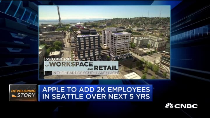 Apple to add 2,000 employees in Seattle over next 5 years