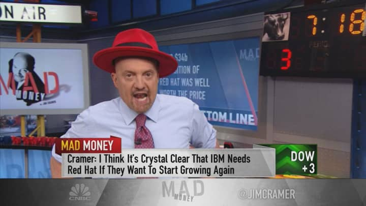 IBM earnings prove it paid right price for Red Hat, says Jim Cramer