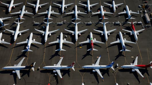 Grounded Boeing 737 MAX aircraft are seen parked in an aerial photo at Boeing Field in Seattle, Washington