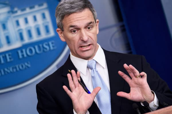 Acting Director of the US Citizenship and Immigration Services Ken Cuccinelli speaks during a briefing at the White House August 12, 2019, in Washington, DC. The administration of US President Donald Trump announced Monday new rules that aim to deny permanent residency and citizenship benefits to migrants who receive food stamps, Medicaid and other public welfare.