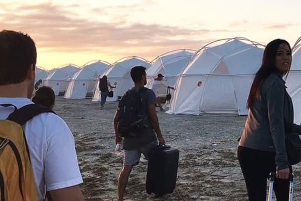 "Attendees arrived to their ""luxury accommodation"" of domed tents at the infamous Fyre Festival."