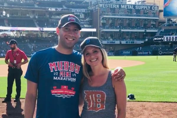 Brad Pettiford and his wife Jami at Petco Park in San Diego to watch the Detroit Tigers play the San Diego Padres. The couple has been to 14 Major League Baseball stadiums so far, with the goal of visiting all of them.