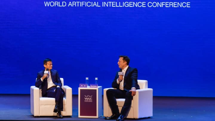 Watch Elon Musk and Jack Ma debate whether humans or computers are smarter
