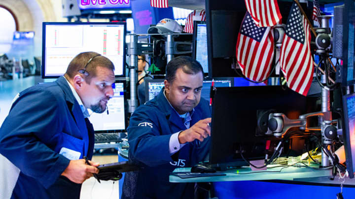 Traders work on the floor of the New York Stock Exchange (NYSE) on August 23, 2019 in New York City.
