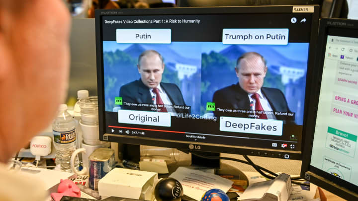 A deepfake video of Russian President manipulated with artificial intelligence.