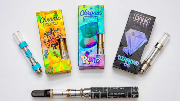 The New York State Department of Health shared photos of some of the products it found to contain vitamin E acetate, a key focus of the department's investigation into potential causes of vaping-associated lung disease.