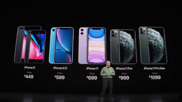 Apple announces iPhone 11 Pro at a launch event.