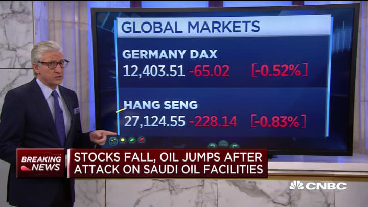Stocks fall and oil jumps after attack on Saudi oil facilities