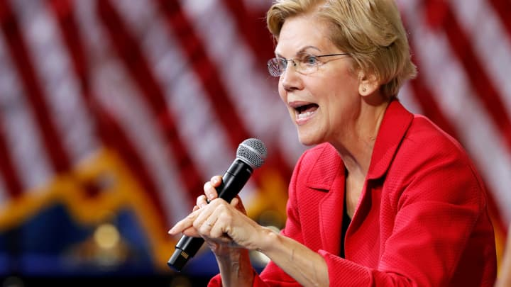Democratic presidential candidate Senator Elizabeth Warren (D-MA) responds to a question during a forum held by gun safety organizations the Giffords group and March For Our Lives in Las Vegas, Nevada, October 2, 2019.