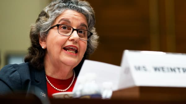 U.S. Federal Election Commission Commissioner Ellen Weintraub testifies on Capitol Hill in Washington, Wednesday, May 22, 2019.