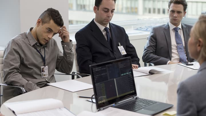 Rami Malek (left) as Elliot in the pilot for USA Networks' 'Mr. Robot,' in which Malek played a cybersecurity engineer who also is involved with a vigilante hacking network.