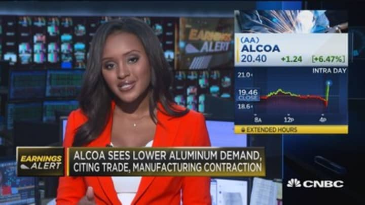Alcoa up after earnings
