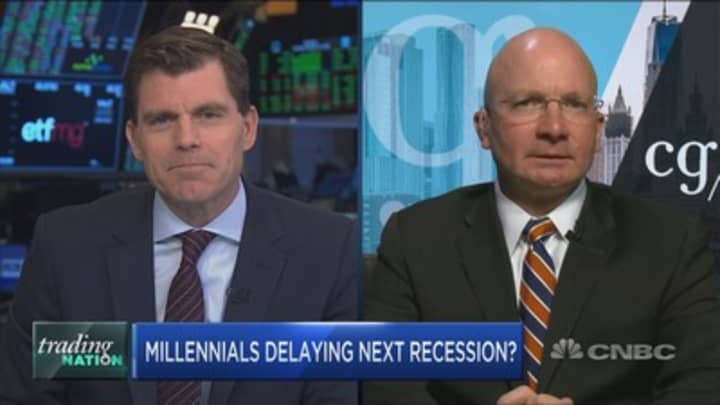Wall Street bull Tony Dwyer believes millennials are pushing recession risks lower