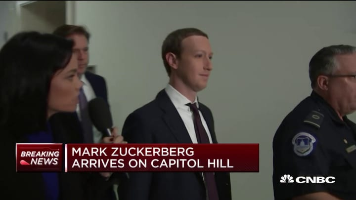 Mark Zuckerberg arrives on Capitol Hill