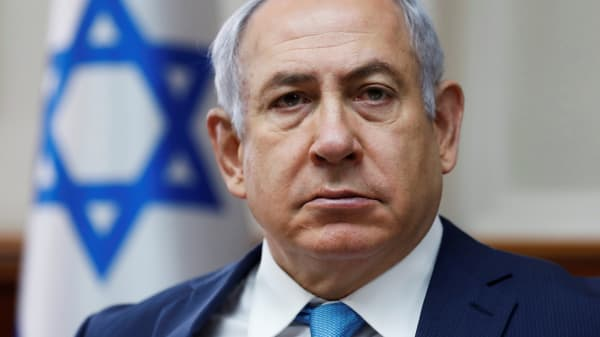 Israeli Prime Minister Benjamin Netanyahu attends the weekly cabinet meeting at the Prime Minister's office in Jerusalem February 11, 2018.