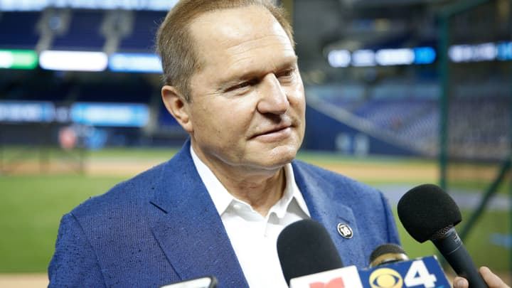 Agent Scott Boras prior to the game between the Miami Marlins and the New York Mets at Marlins Park on July 12, 2019 in Miami.