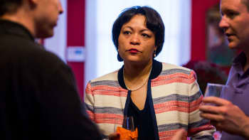 In this Sept. 22, 2017 file photo, New Orleans mayoral candidate LaToya Cantrell listens to donors at the home of Robert Ripley in New Orleans.