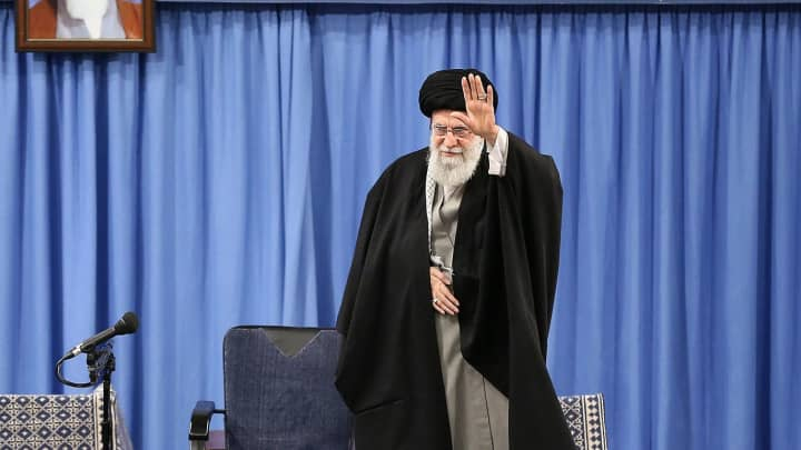 Iranian Supreme Leader Ayatollah Ali Khamenei greets people as he attends a meeting to speak on missile attacks on US bases in Iraq, in Tehran, Iran on January 8, 2020. (Photo by Iranian Supreme Leader Press Office / Handout/Anadolu Agency via Getty Images)