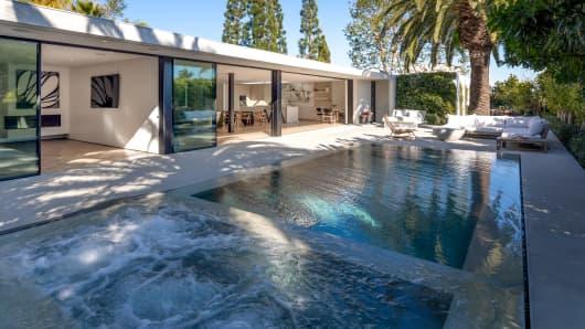 The renovated backyard and new pool