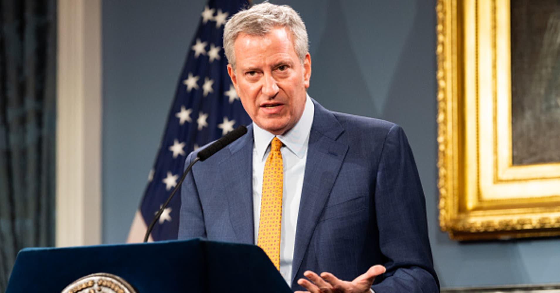 NYC Mayor de Blasio holds a press briefing on the coronavirus